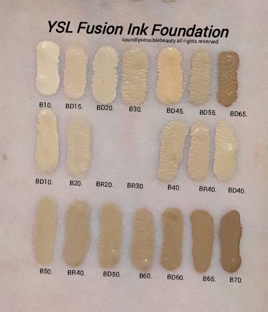YSL Fusion Ink Foundation SPF 18; Swatches of Shades B10 Porcelain, BD15 Warm Buff, BD20 Warm Ivory, B30 Almond, BD45 Warm Bisque, BD55 Warm Praline, BD65 Warm Toffee, BD10 Warm Porcelain, B20 Ivory, BR20 Cool Ivory*, BR30 Cool Almond*, B40 Sand, BR40 Cool Sand, BD40 Warm Sand B50 Honey, BR50 Cool Honey**, BD50 Warm Honey, B60 Amber, BD60 Warm Amber, B65 Toffee, B70 Mocha