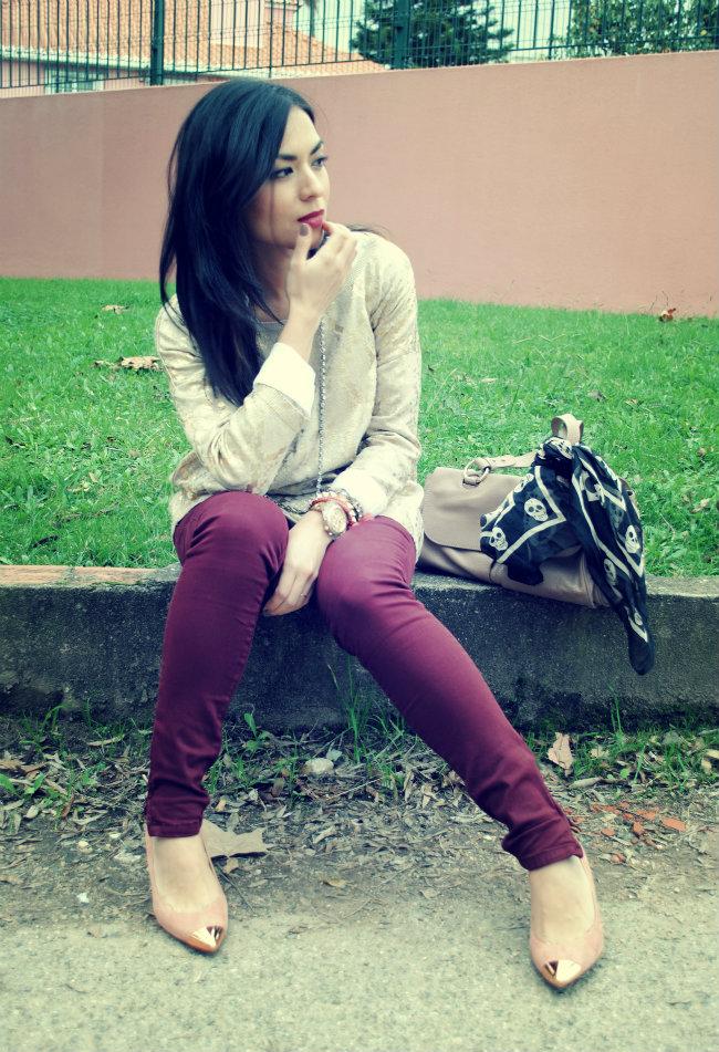 streetstyle - trend - tendência - moda - fashion - style - daniela pires - zara - burgundy - gold - sweater