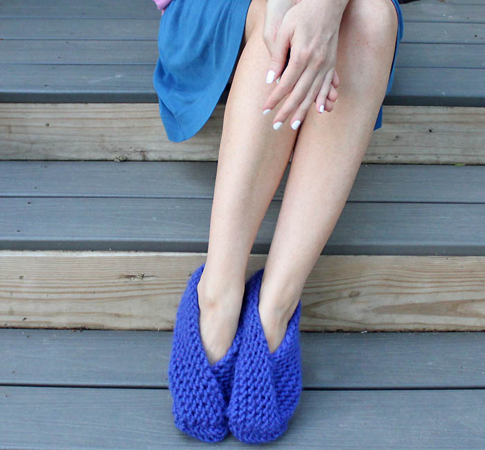Free Knit Slipper Patterns Beginners : Easy Foldover Slippers Knitting Pattern - Gina Michele