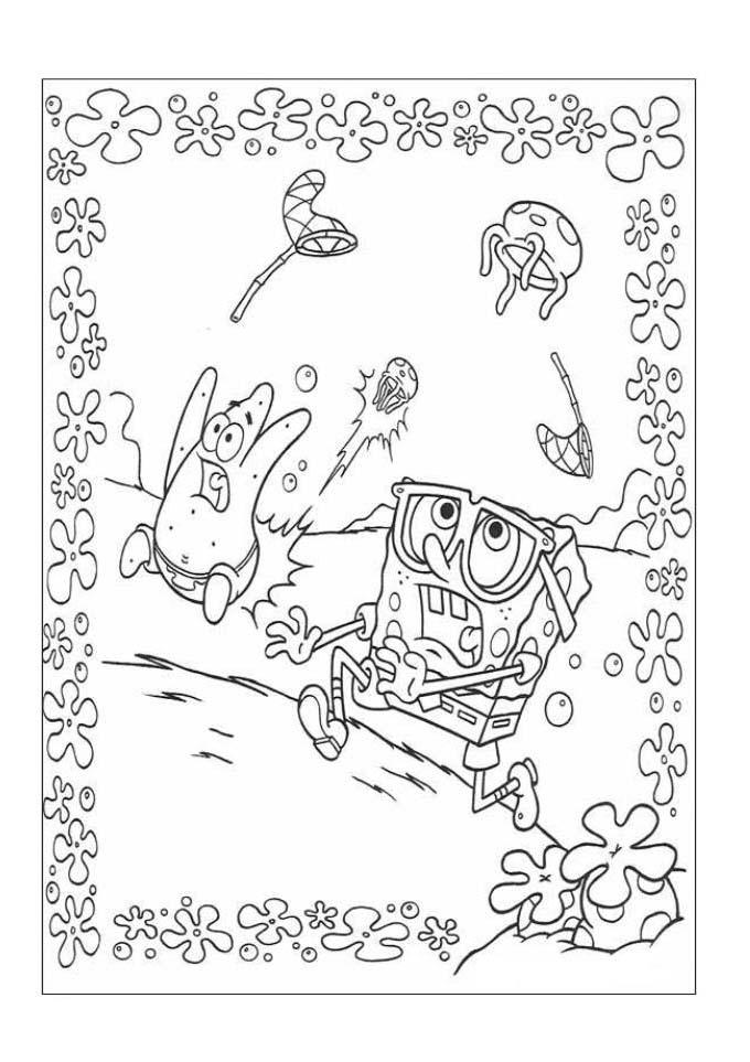 Desenhos Para Colorir Bob Esponja Caçando Agua Viva