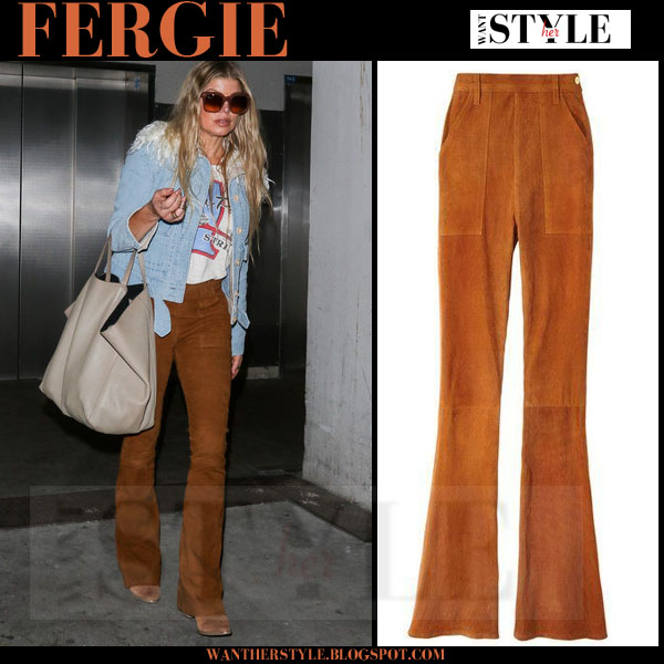 Fergie in brown suede flared pants frame denim le flare de francoise what she wore