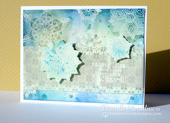 Snowflake Card with Distress Inks by Danielle Pandeline for Newton's Nook Designs | Beautiful Blizzard Stamp Set