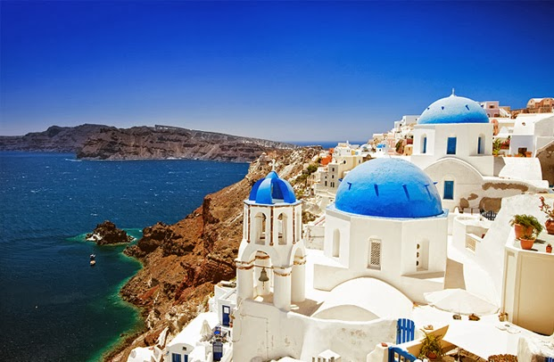 Santorini, Greece, White, Blue, Ocean, vacation