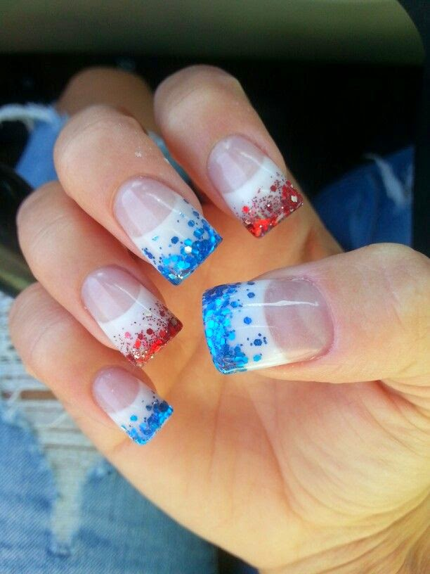 Nail designs fourth of july nail designs check out this nail art which used red and blue glitters on the ends of french tips to add a little shine to the end of the fingernail prinsesfo Gallery