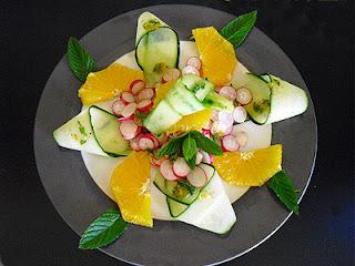 Concombre et radis sauce aux agrumes