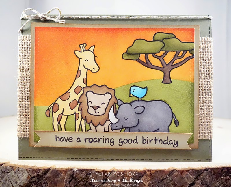 "Savanna Birthday Card by Handmade by Yuki | ""Critters on the Savanna"" by Lawn Fawn 