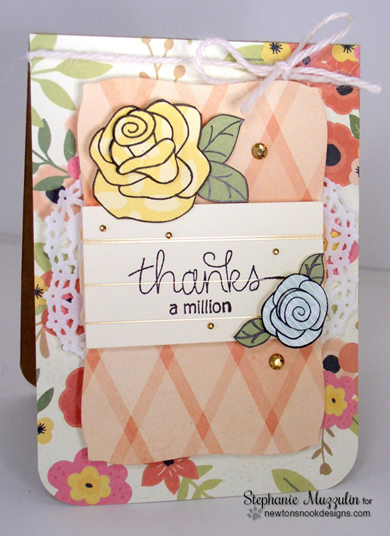 Thanks a Million Rose card by Stephanie Muzzulin | Stamps by Newton's Nook Designs