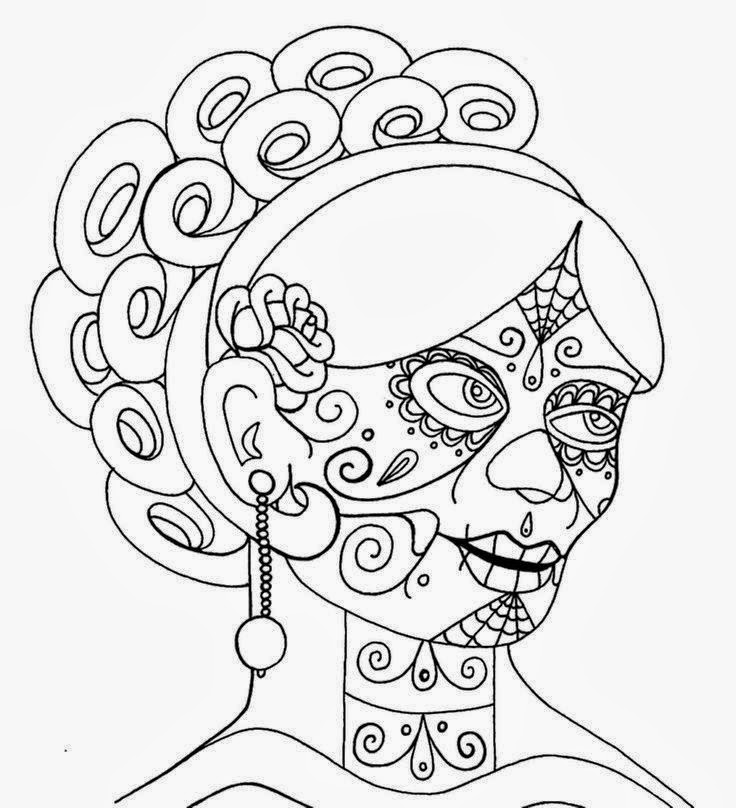 "Girl ""Yulia Tymoshenko"" face day of the dead tattoo stencil"