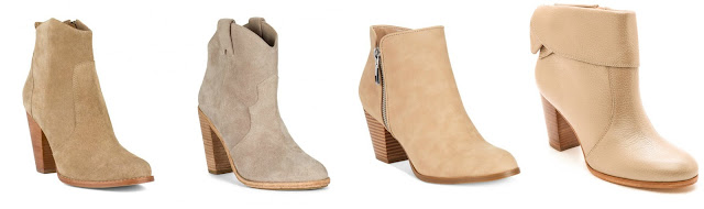 Three of these pairs of beige booties are from designers for $325 - $365 and one is from Style&co for $70. Can you guess which one is the more affordable pair? Click the links below to see if you are correct!