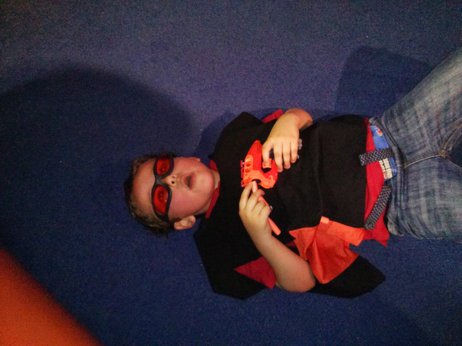 Big Boy hiding out on the floor at the Nerf Party Gullivers Land Milton Keynes