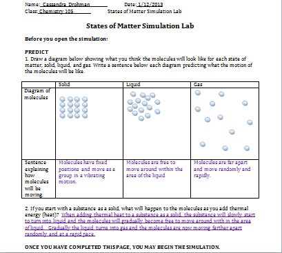 Chem 105: Activity 6: States of Matter and Intermolecular ...