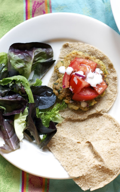 Mediterranean Chickpea Burger- simplelivingeating.com