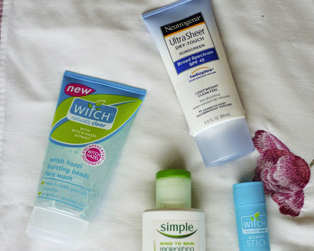 Morning skincare products - Neutrogena sunscreen, witch face wash, witch blemish stick and simple moisturiser