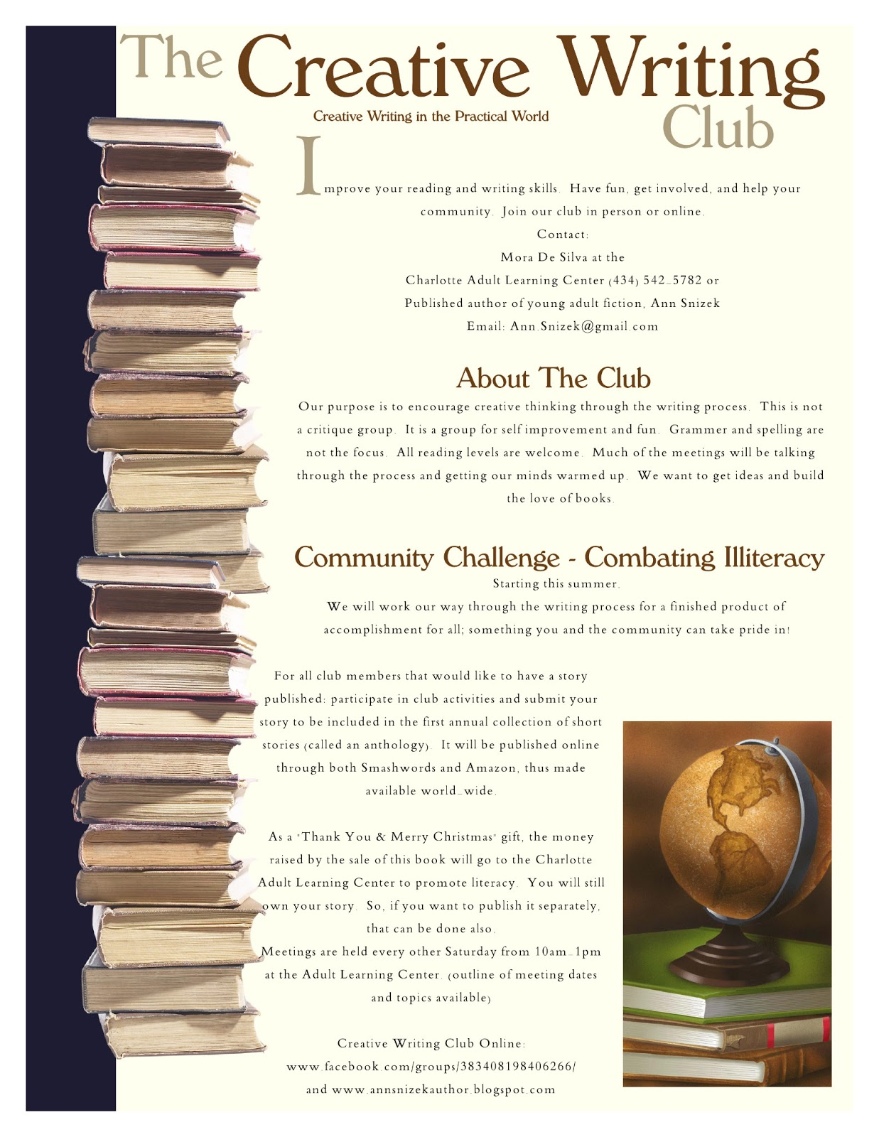 writing club Wcw has run writing critique groups in whittier, california, since 1953 members have published everything from poetry to romance novels to business advice.