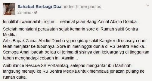 Zainal Abidin Domba Meninggal Dunia