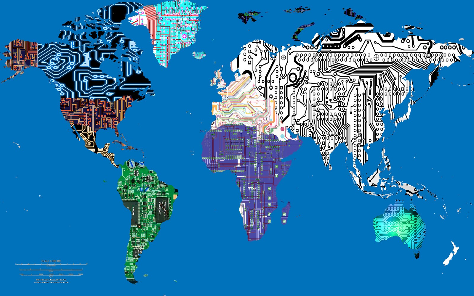 i chose to turn world map into a collage of circuitry and technological patterns