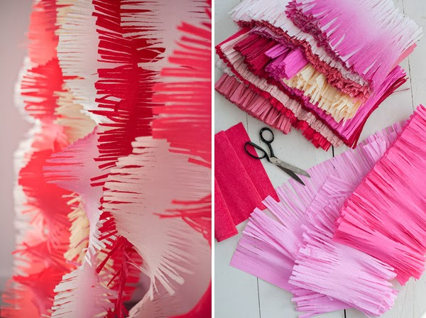 Decorazioni con la carta crespa: fringe garland