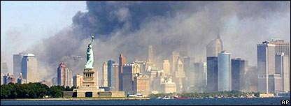 Smoke over Manhattan on 9/11/01