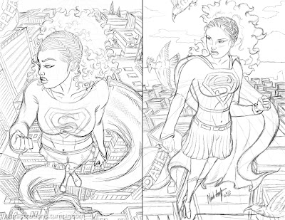 Supergirl african american black sketch comparison