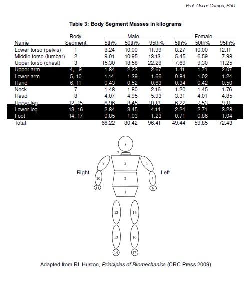 Dise o biomecanico medidas antropometricas for Tabla de medidas antropometricas