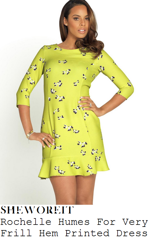 rochelle-humes-pale-lemon-lime-yellow-floral-print-three-quarter-sleeve-frill-hem-mini-dress-very