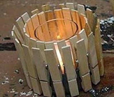 Portavelas con pinzas recicladas