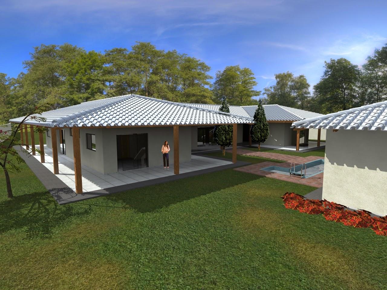 Projetos desenhos casa de campo guas da serra for Casas modernas 4 aguas