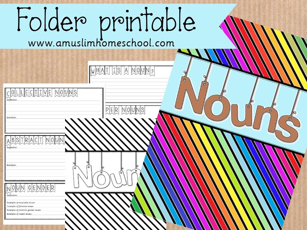 graphic regarding Printable Folder identify a muslim homeschool: Printable nouns folder.a spin upon the