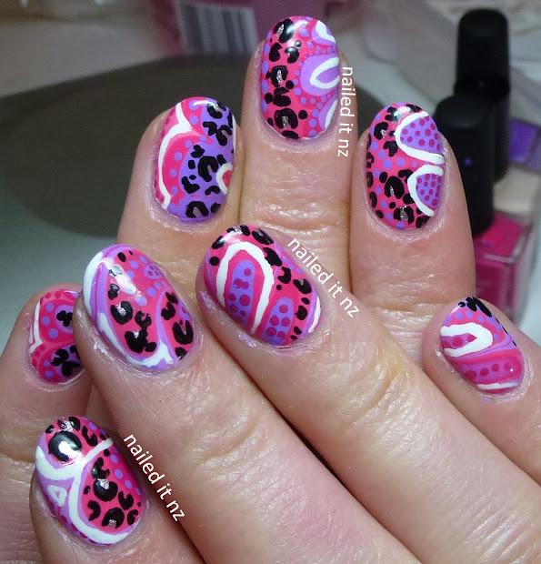 pink graffiti nails