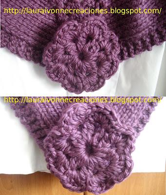 Laura Ivonne Creaciones: Chal tejido con agujas circulares y flores en
