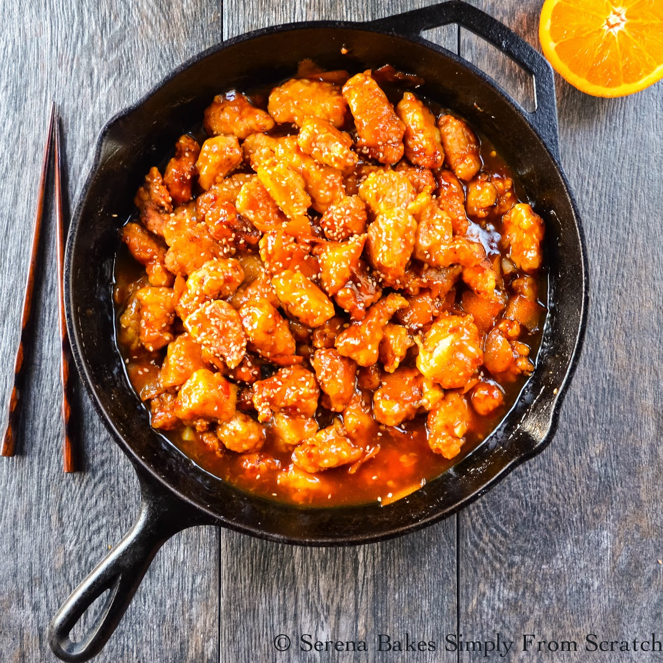 Chinese Orange Peel Chicken serve with rice, fried rice or chowmein noodles.