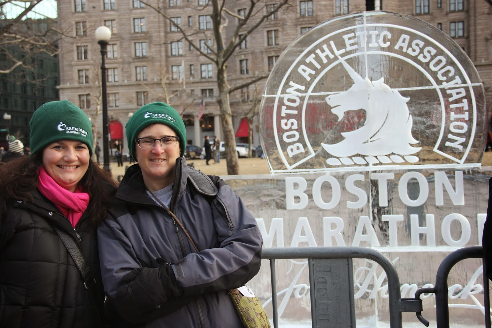 With Kirstie Crawford (Samaritans marathon team coordinator) in Copley Square on New Year's Day