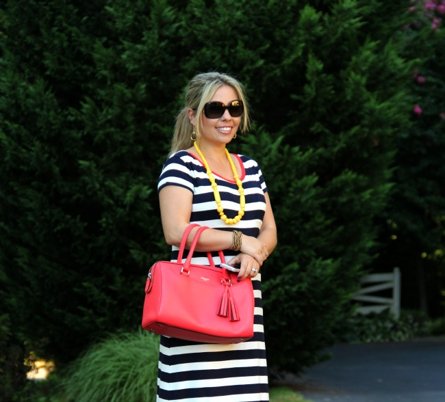 Stripped Maxi Dress form Gap, Coach Legacy,  mid rings, burberry sunglasses, yellow bubble necklace