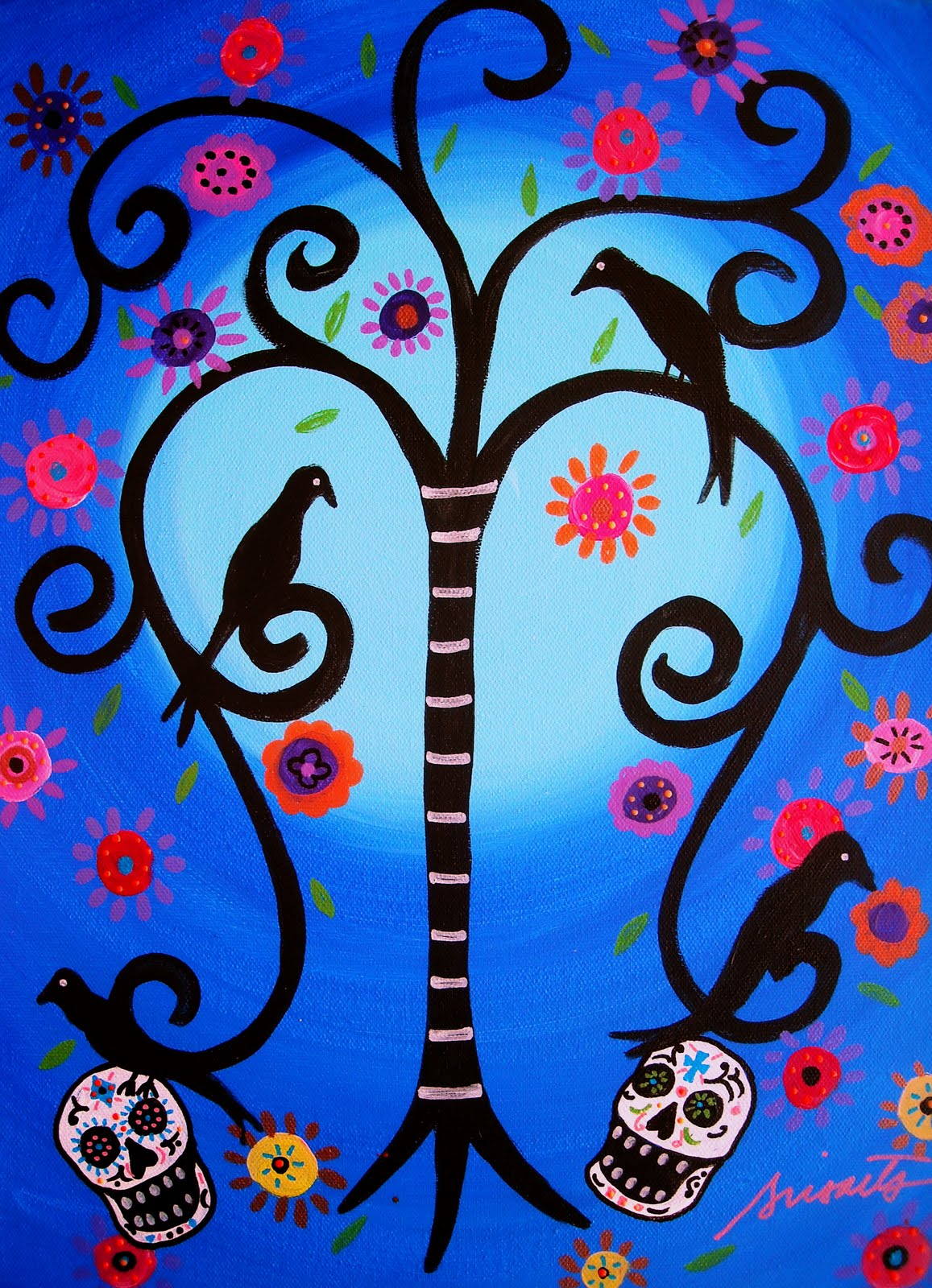 MEXICAN FOLK ART DIA DE LOS MUERTOS PAINTING CHECK OUT ORIGINAL PAINTINGS AT PRISARTS GALLERY
