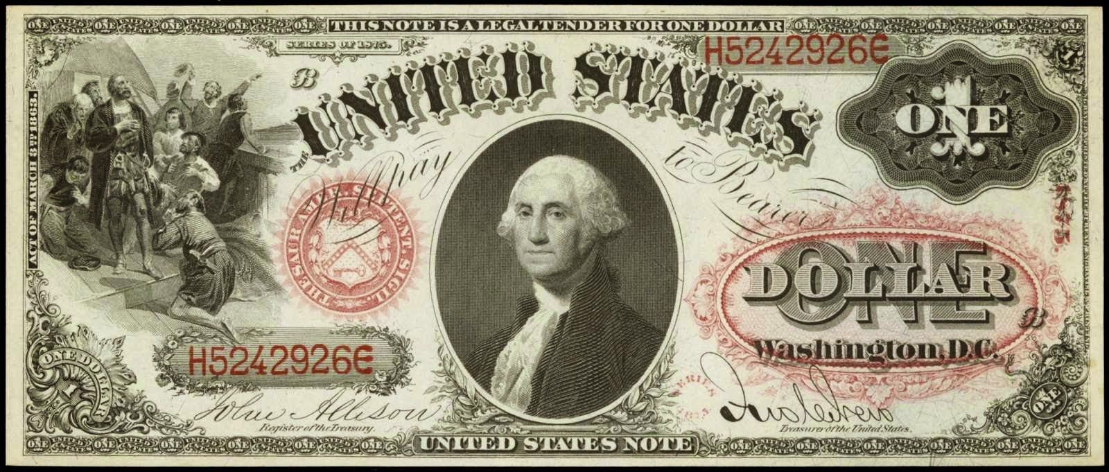 "One Dollar Bill George Washington 1875 Legal Tender Note ""Sawhorse Reverse"""