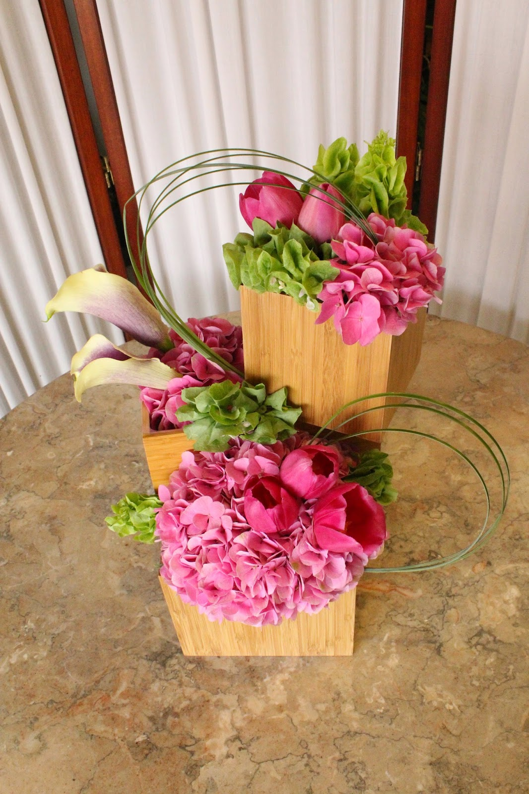 Tulips Calla Lilies Hydrangeas Pink And Green Flowers In Bamboo