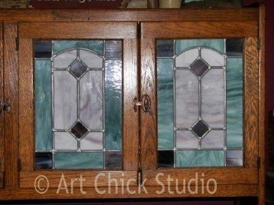 Stained Glass on the Hoosier Cabinet