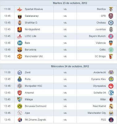 Calendario Partidos Jornada 3 Champions 2012 - 2013