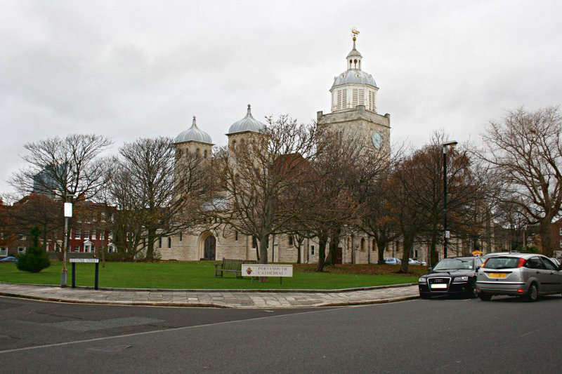 portsmouth cathedral behind trees