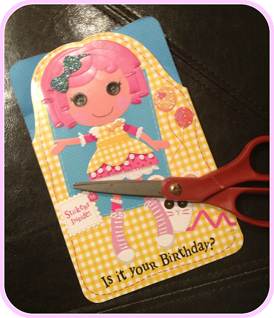 lalaloopsy card and scissors