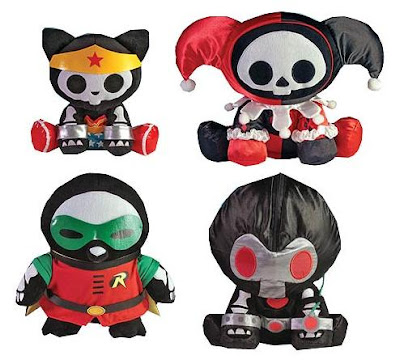 DC Heroes Skelanimals Plush Figures Series 2 by Toynami - Kit the Cat as Wonder Woman, Marcy the Monkey as Harley Quinn, Pen the Penguin as Robin & Pudge the Turtle as Bane