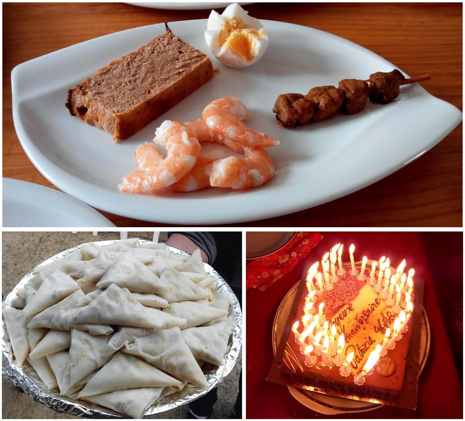 pain de thon, oeuf, crevettes, samossas, gâteau, anniversaire, bullelodie