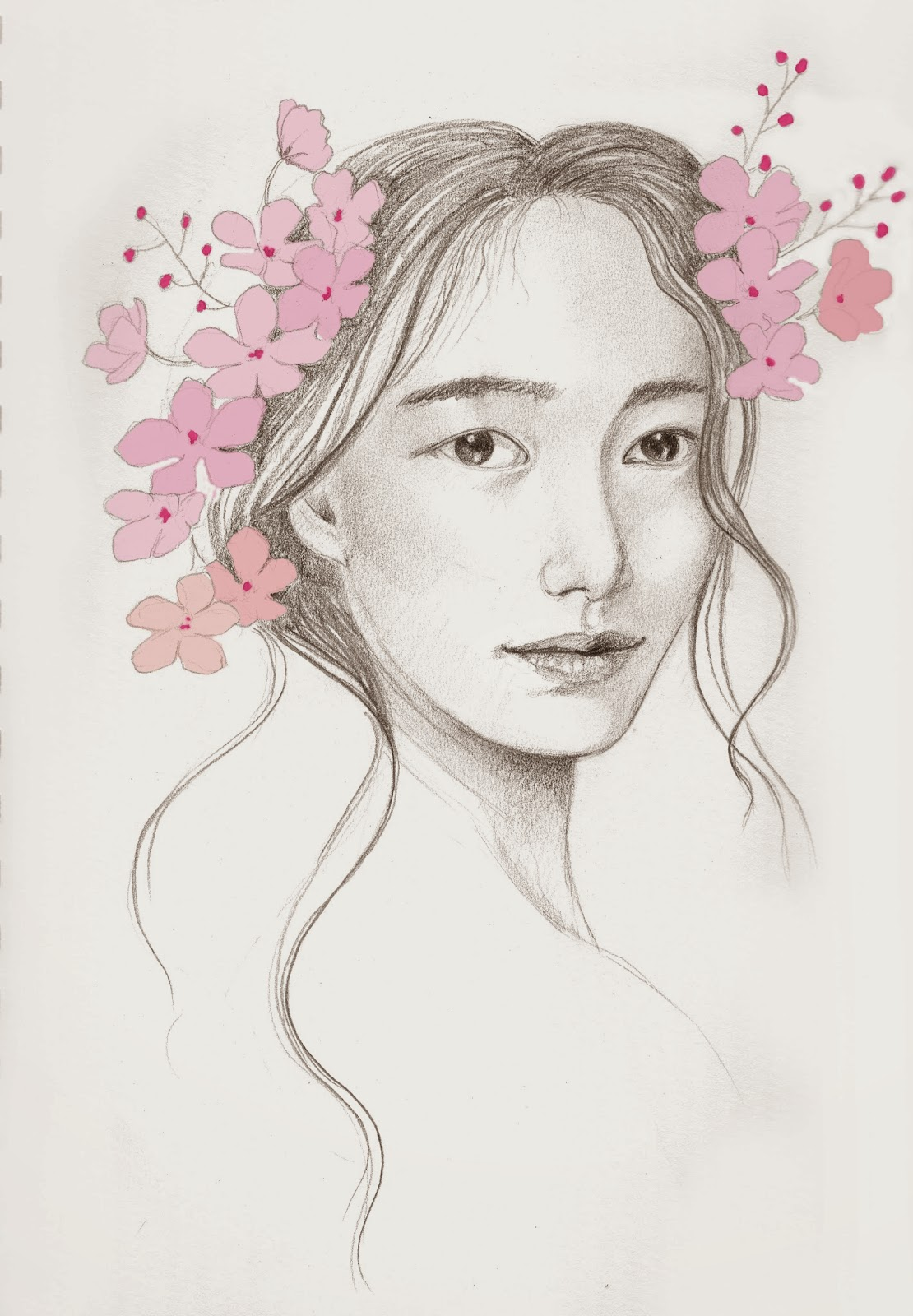 how to draw a cherry blossom tree in pencil