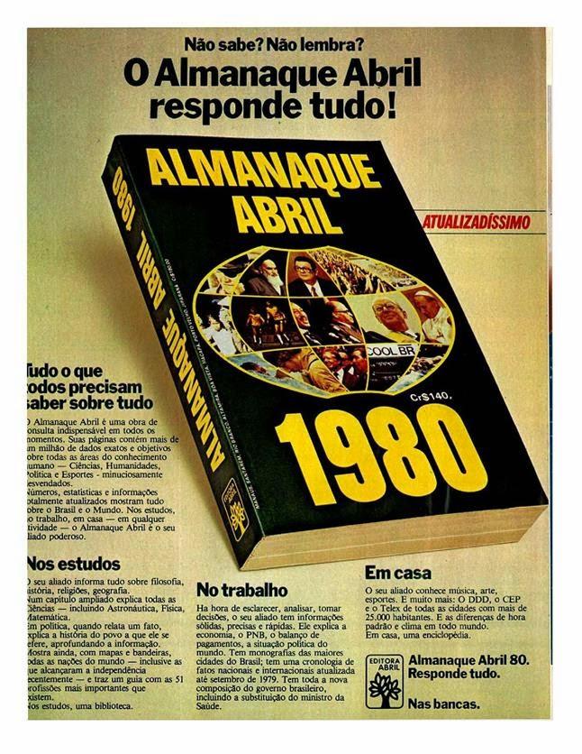 Propaganda do Almanaque Abril em 1980: fonte de informações antes da era da informática.