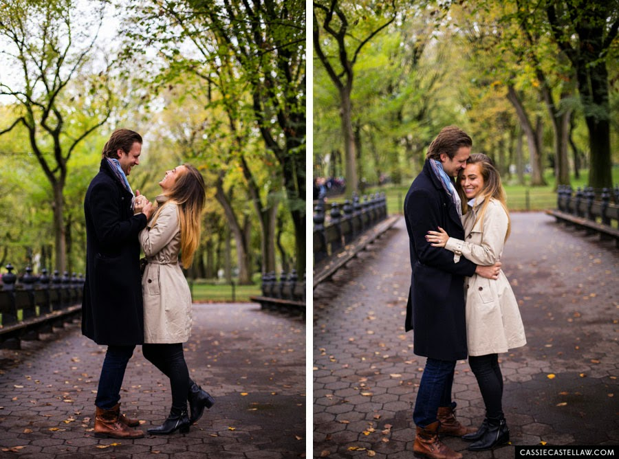 Candid Engagement Portraits in October, Bethesda Terrace Central Park NYC - www.cassiecastellaw.com