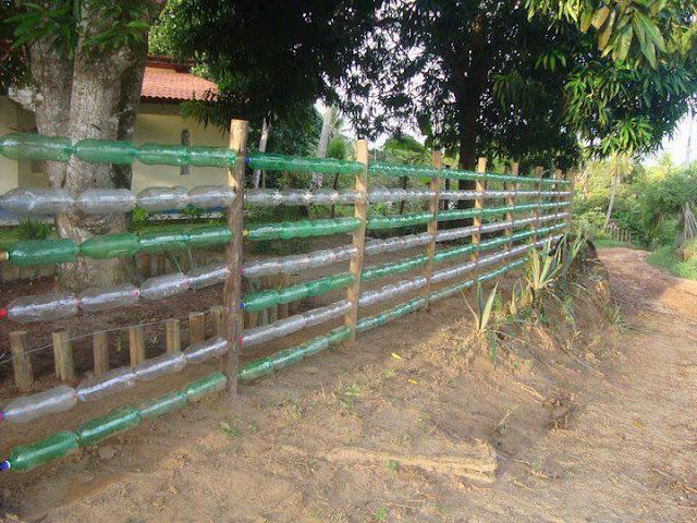 cerca para jardim recicladaBarco de Garrafa Pet também da pra você