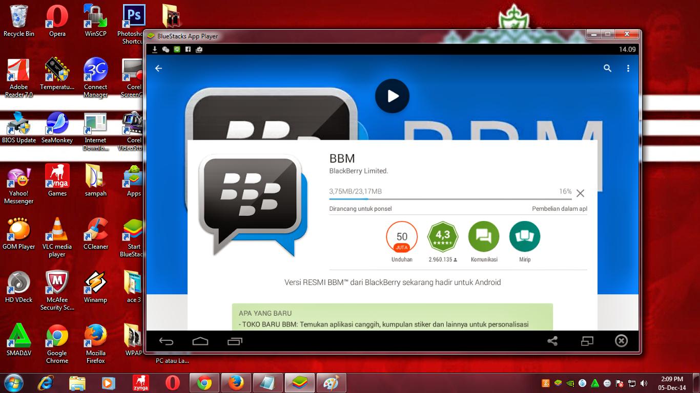... mendownload BBM untuk PC atau laptop langsung dari BlueStacks App
