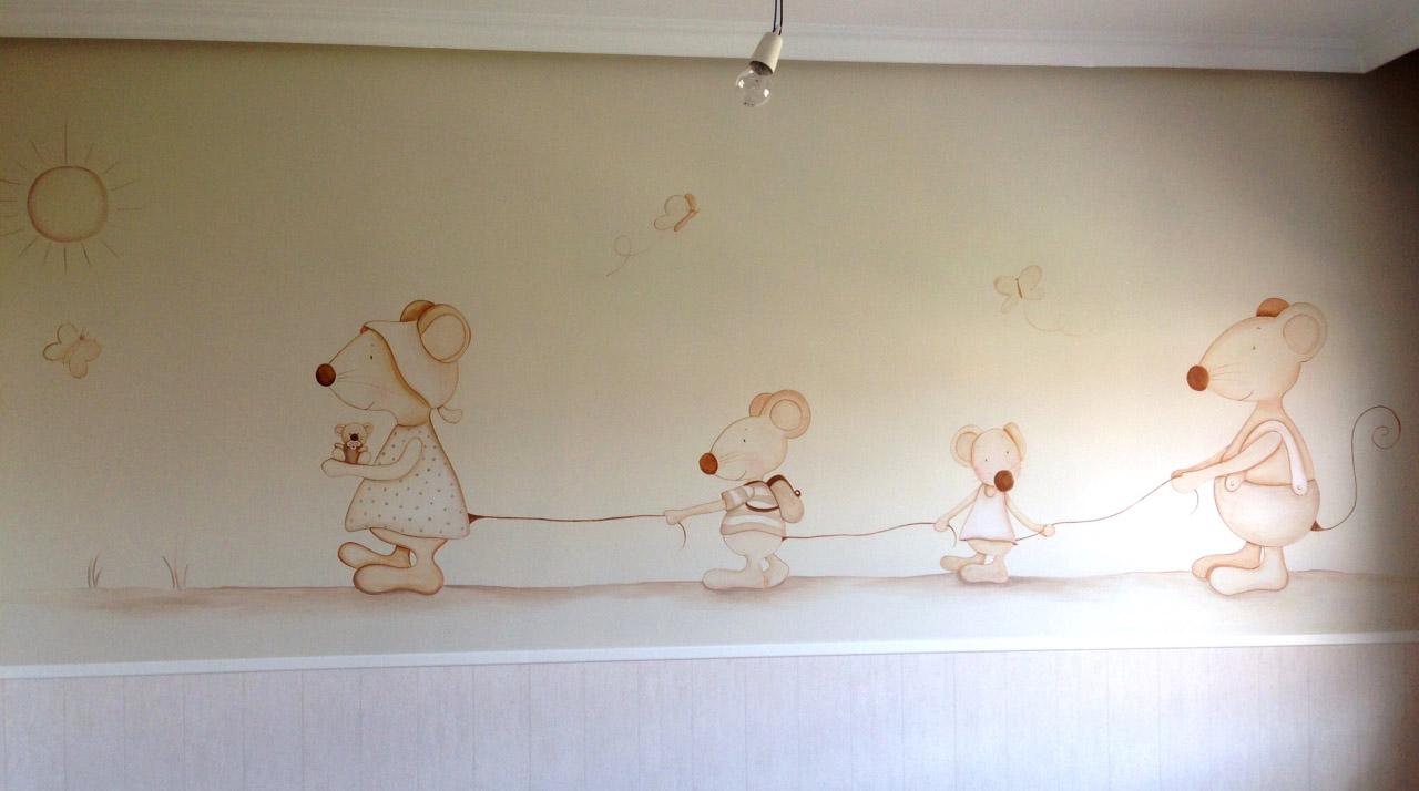 Decopared familia de ratoncitos para cuarto de bebe - Dibujos habitacion bebe ...