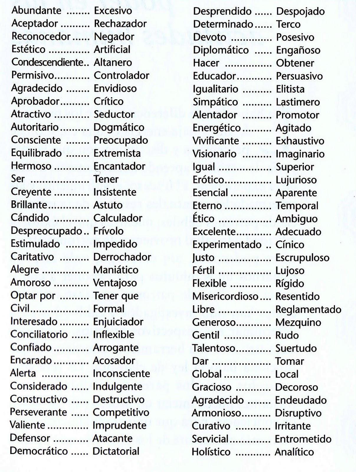 diccionario de adjetivos: