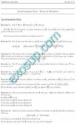 exercices sur le théorème des Accroissements Finis et Etude de Fonctions